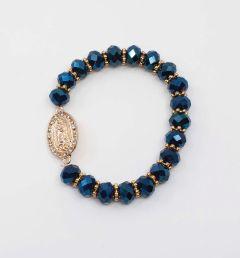 Pulsera azul y oro de la Virgen de Guadalupe