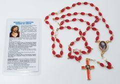Rosario a la Preciosa Sangre de Cristo y estampa con oración