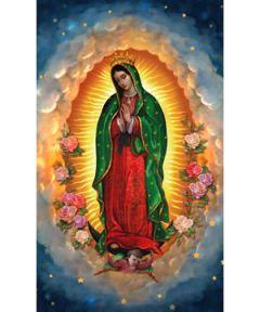Los vivos colores y los finos detalles dorados resaltan esta hermosa imagen de Nuestra Señora de Guadalupe