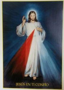 """Imagen de la Divina Misericordia con fondo azul pintada por Hyla, con una pequeña frase """"Jesús en Ti Confío""""."""