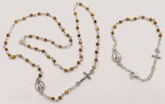 juego de rosario y Pulsera color oro