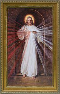 En esta representación, a diferencia de otras imágenes, la iluminación de la Divina Misericordia se extiende directamente hacia el espectador