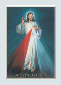"""Imagen de la Divina Misericordia con fondo azul, con la pequeña frase """"Jesús en ti Confío"""""""