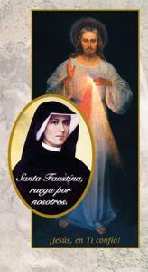 Inspiradora estampa de Santa Faustina pidiendo por su intersección y su amparo