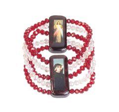 Pulsera de madera con la imagen de la Divina Misericordia